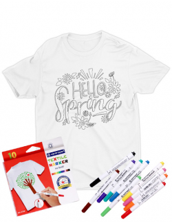 Tricou de colorat Hello spring SET