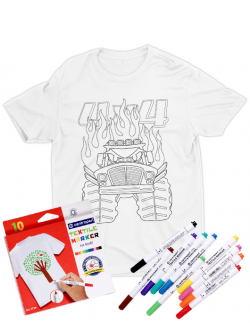 Tricou de colorat Monster truck cartoon SET