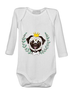 Baby body King Of Pug Alb