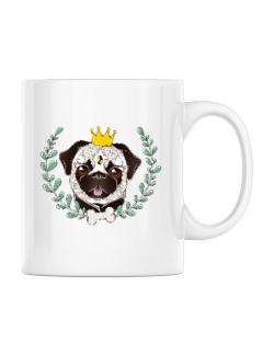 Cana personalizata King Of Pug Alb
