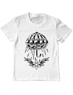 Tricou ADLER copil Umbrella Tattoo Alb