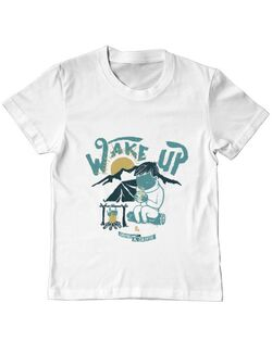 Tricou ADLER copil Wake up and drink a coffee Alb