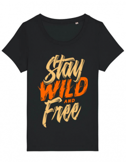 Tricou STANLEY STELLA dama Stay Wild and Free Negru