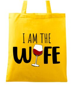 Sacosa din panza I am the wife Galben