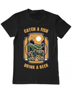 Tricou ADLER barbat Catch a fish Negru