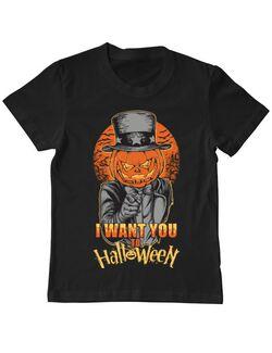 Tricou ADLER copil I want you to halloween Negru