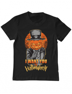 Tricou ADLER copil I want you to halloween Negru