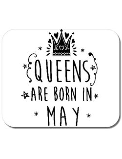 Mousepad personalizat Queens are born in May Alb