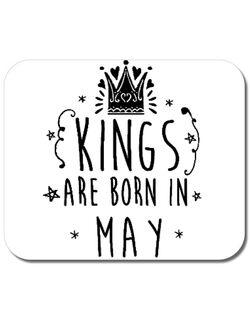 Mousepad personalizat Kings are born in May Alb