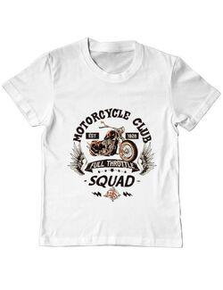 Tricou ADLER copil Motorcycle club Alb