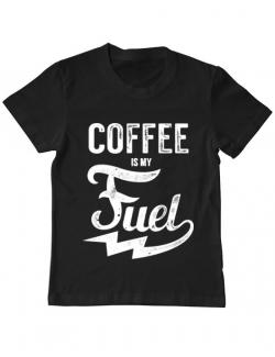 Tricou ADLER copil Coffee is my fuel Negru