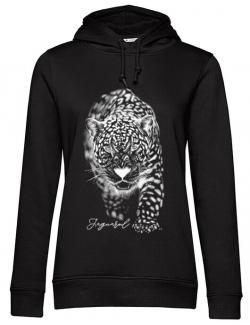 Hoodie dama cu gluga Jaguarul Alb Negru