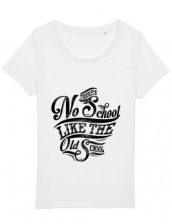 Tricou STANLEY STELLA dama Old school typography Alb