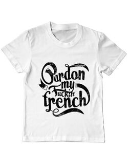 Tricou ADLER copil Pardon my fucking french Alb