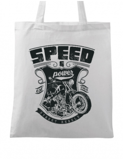 Sacosa din panza Speed and power Alb
