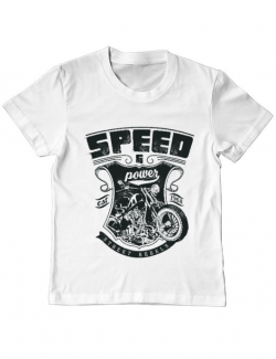 Tricou ADLER copil Speed and power Alb