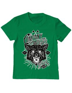 Tricou ADLER copil Company of wolves Verde mediu