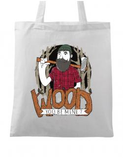 Sacosa din panza Wood you be mine Alb