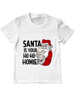 Tricou ADLER copil Santa is your homie Alb