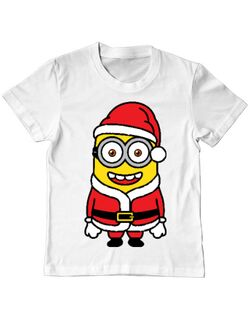 Tricou ADLER copil Santa minions Alb