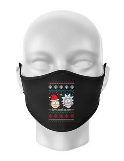 Masca personalizata reutilizabila Rick and Morty Christmas Negru