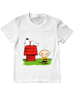 Tricou ADLER copil Stewie and Snoopy Alb