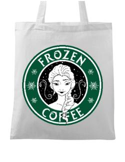 Sacosa din panza Frozen coffee Alb