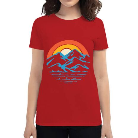Tricou ADLER dama Mountain and rainbow Rosu