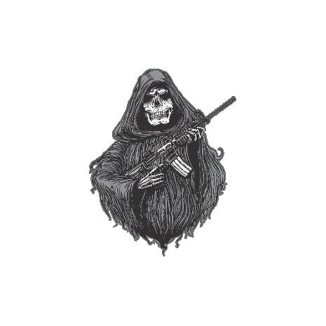 Tricou Grim and gun