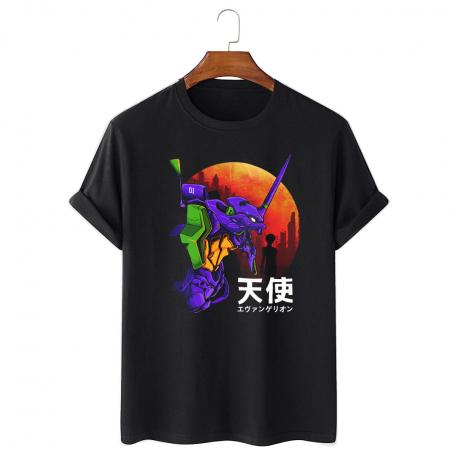 Tricou personalizat negru unisex Evangelion