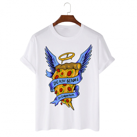 Tricou personalizat alb unisex Angel Pizza
