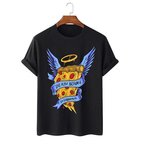 Tricou personalizat negru unisex Angel Pizza