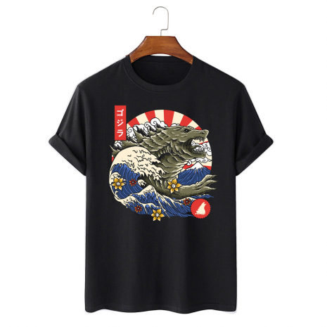 Tricou personalizat negru unisex Great Wave Monster