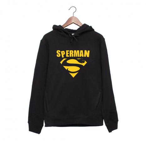 Hanorac personalizat negru unisex Sperman