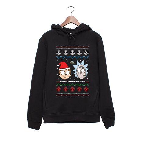 Hanorac personalizat negru unisex Rick and Morty Christmas