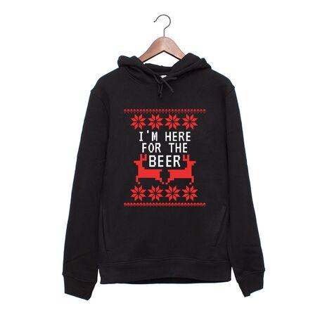 Hanorac personalizat negru unisex Here for the beer
