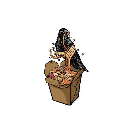 Tricou Raven and ramen noodles