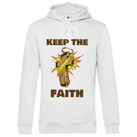 Hoodie barbat cu gluga Keep the Faith Alb