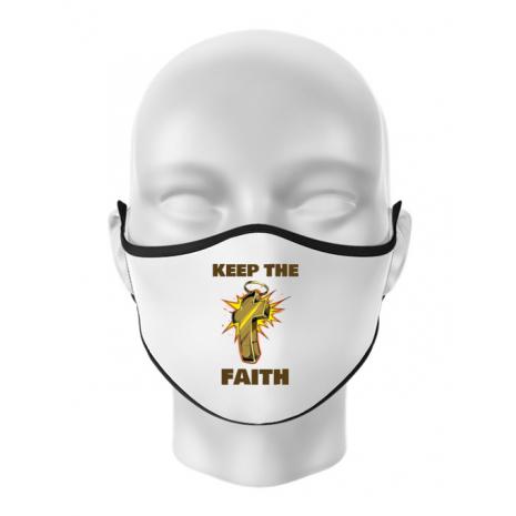 Masca personalizata reutilizabila Keep the Faith Alb