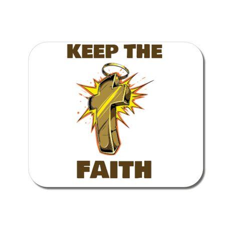 Mousepad personalizat Keep the Faith Alb