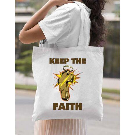 Sacosa din panza Keep the Faith Alb