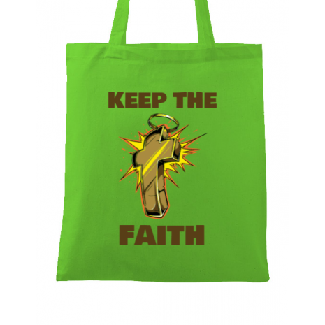 Sacosa din panza Keep the Faith Verde mar