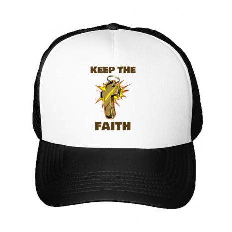 Sapca personalizata Keep the Faith Alb