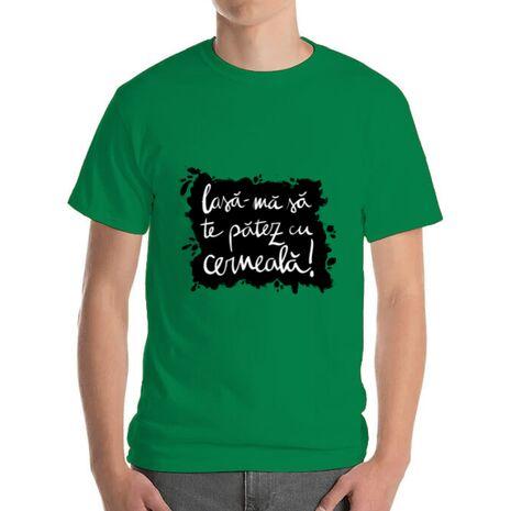 Tricou ADLER barbat Te patez cu cerneala Verde mediu