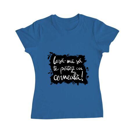 Tricou ADLER dama Te patez cu cerneala Albastru azuriu