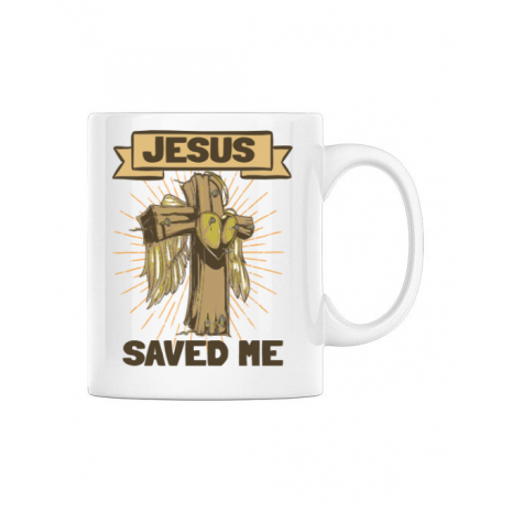 Cana personalizata Jesus Saved Me Alb