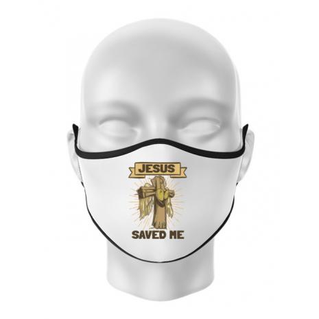 Masca personalizata reutilizabila Jesus Saved Me Alb