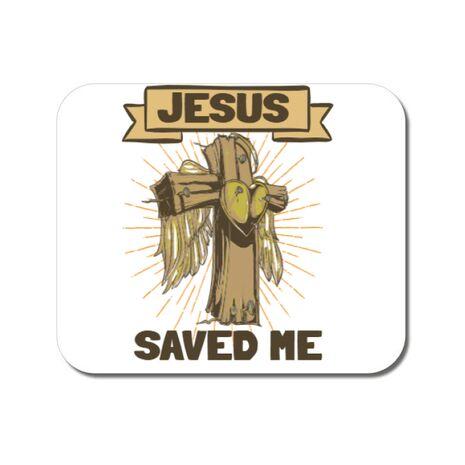 Mousepad personalizat Jesus Saved Me Alb