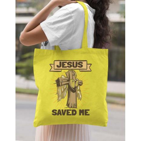 Sacosa din panza Jesus Saved Me Galben