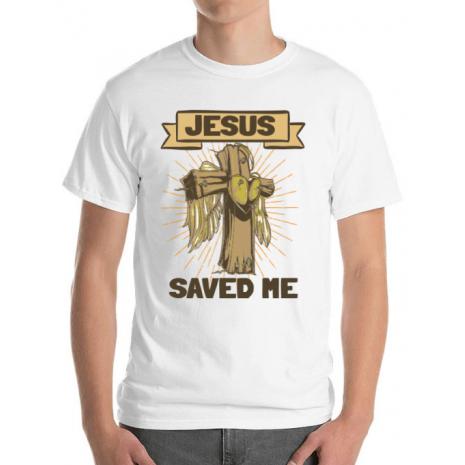 Tricou ADLER barbat Jesus Saved Me Alb